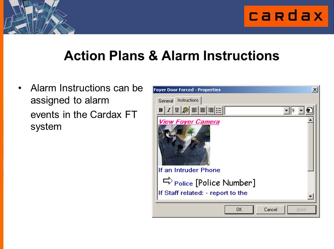 Action Plans & Alarm Instructions