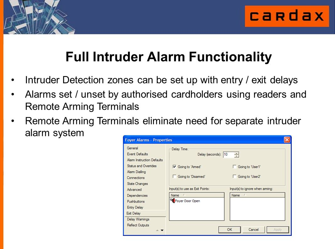 Full Intruder Alarm Functionality