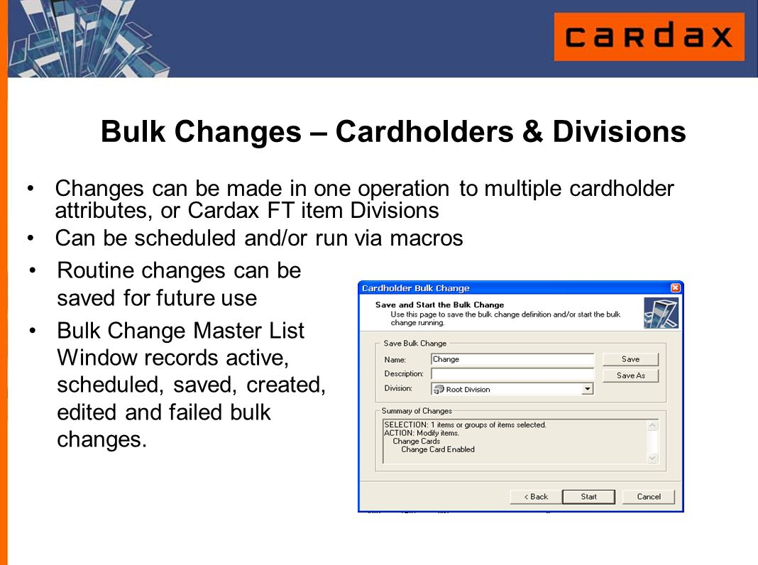 Bulk Changes – Cardholders & Divisions