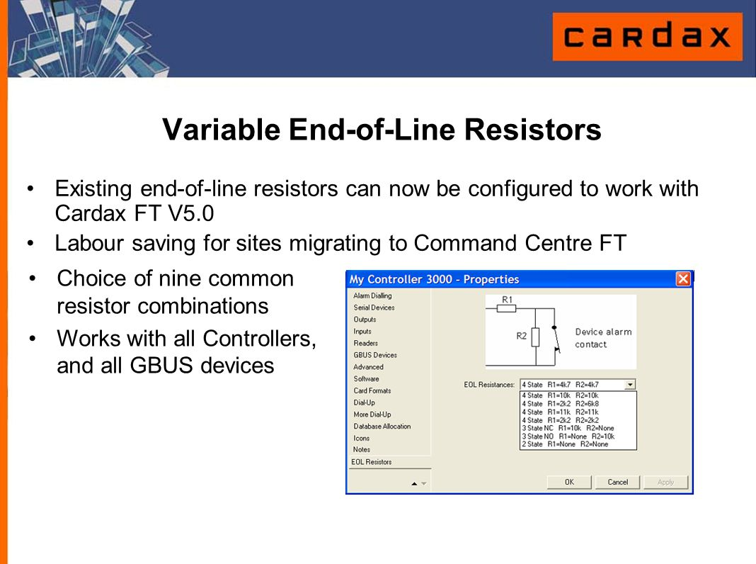Variable End-of-Line Resistors