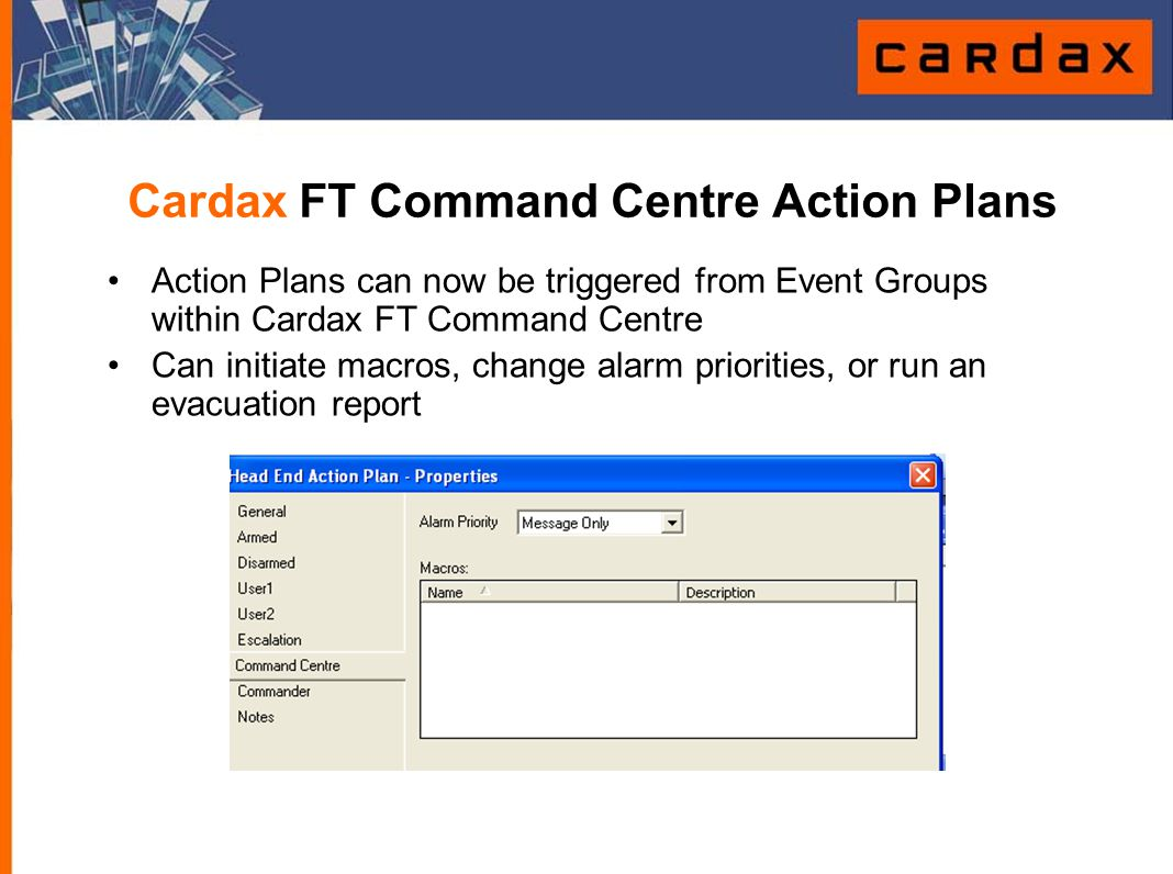 Cardax FT Command Centre Action Plans