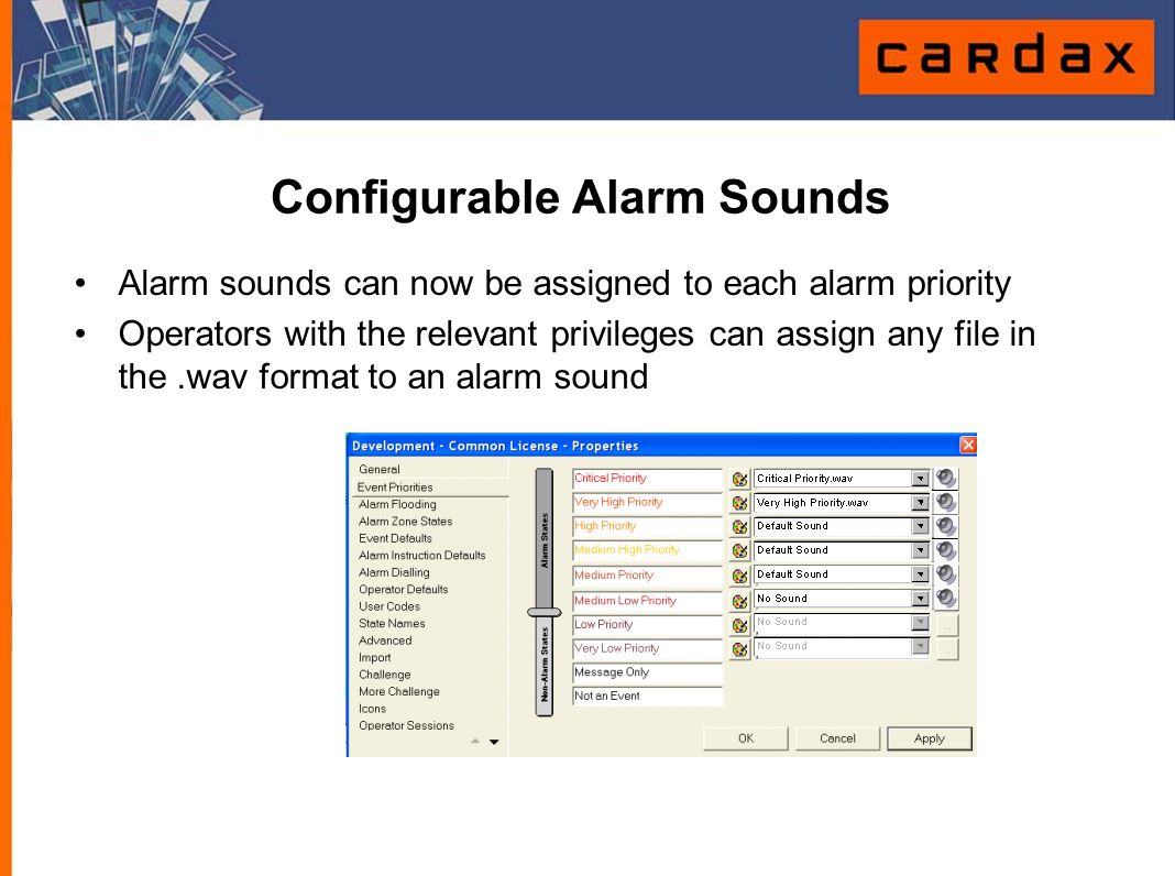 Configurable Alarm Sounds