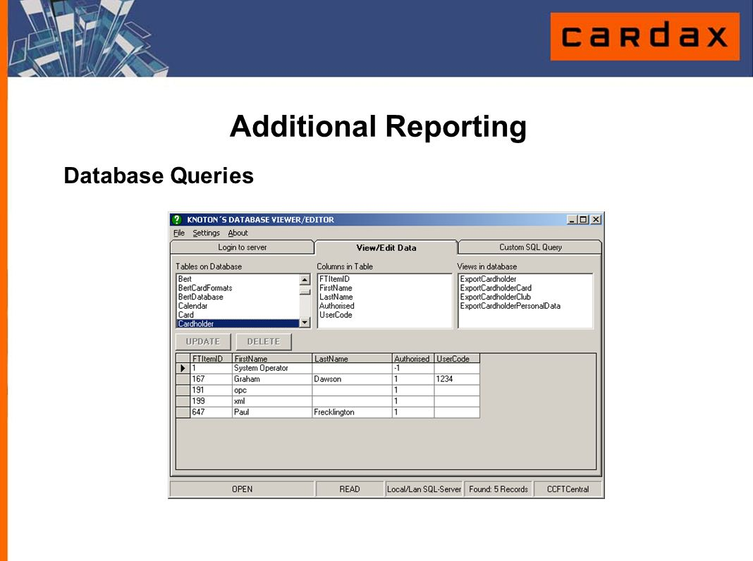 Additional Reporting Database Queries
