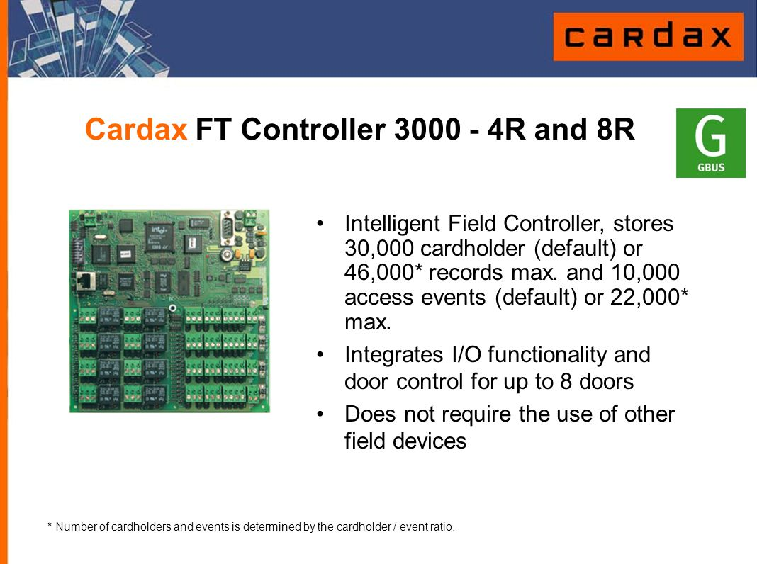 Cardax FT Controller 3000 - 4R and 8R