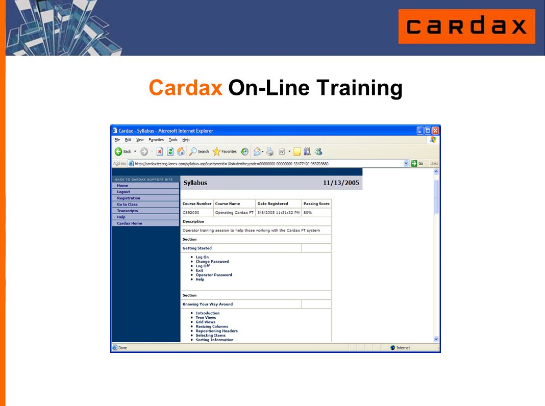 Cardax On-Line Training