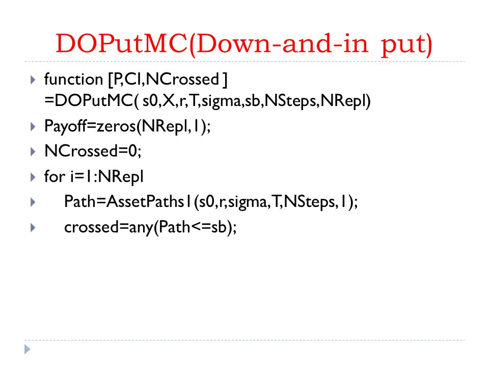 DOPutMC(Down-and-in put)