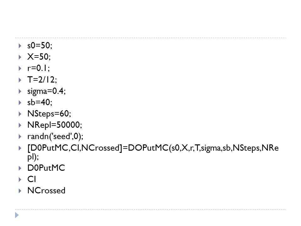 s0=50; X=50; r=0.1; T=2/12; sigma=0.4; sb=40; NSteps=60; NRepl=50000; randn( seed ,0);
