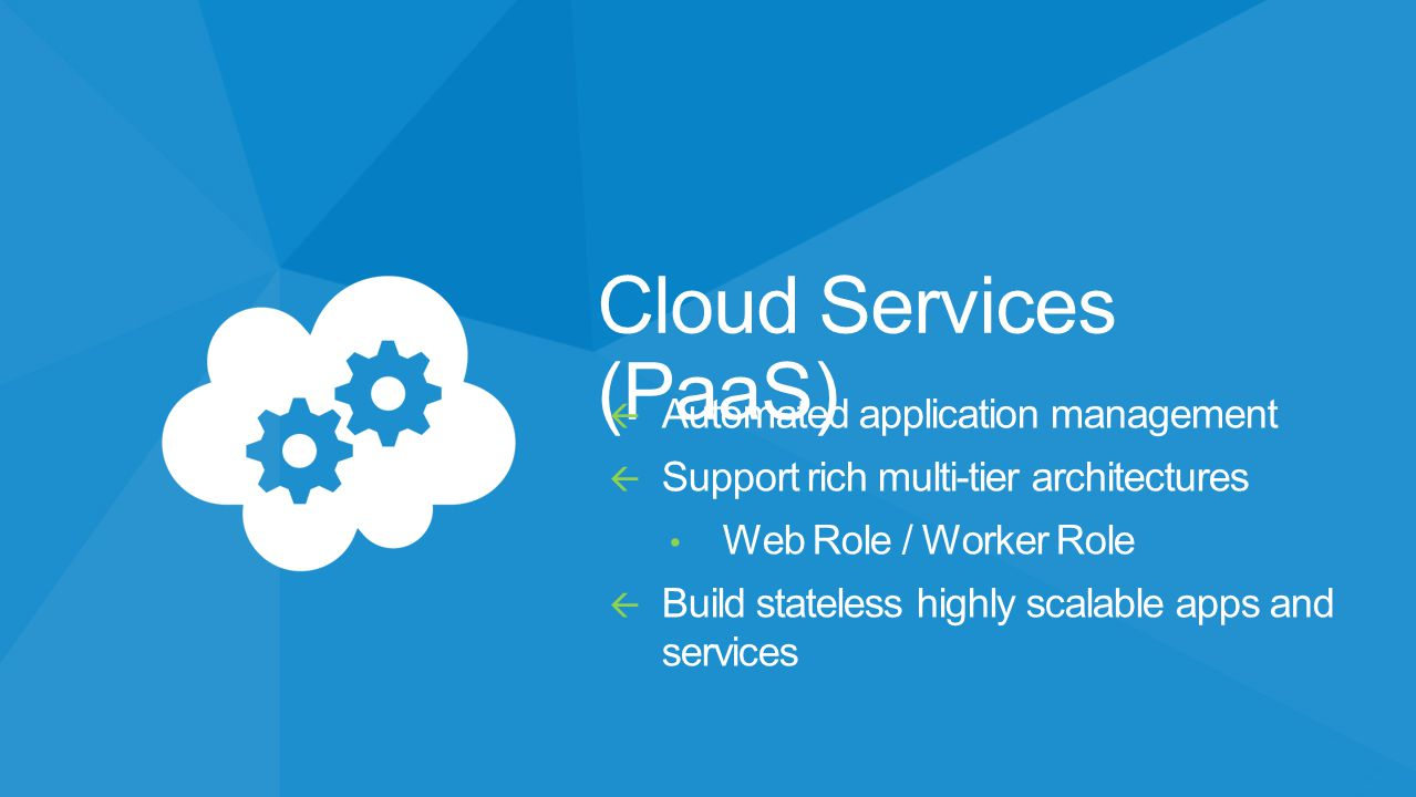 Cloud Services (PaaS) Automated application management