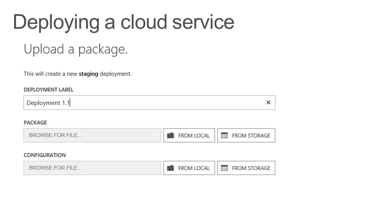 Deploying a cloud service