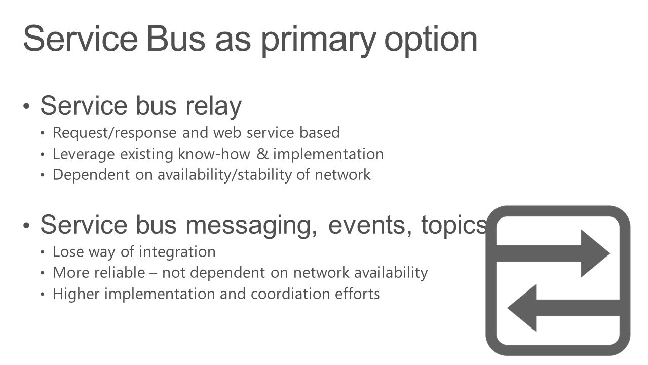 Service Bus as primary option