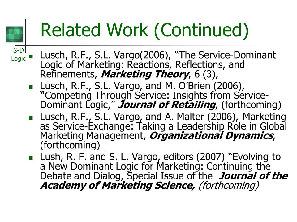 service dominant logic of marketing Marketing evolution: the time and place for service-dominant logic introduction the ideas and conceptions around service-dominant (s-d) logic appeared, to quite.
