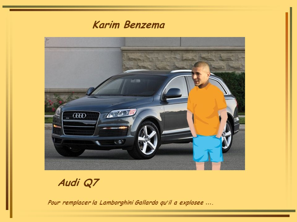 Karim Benzema Audi Q7 Pour remplacer la Lamborghini Gallardo qu'il a explosee ….