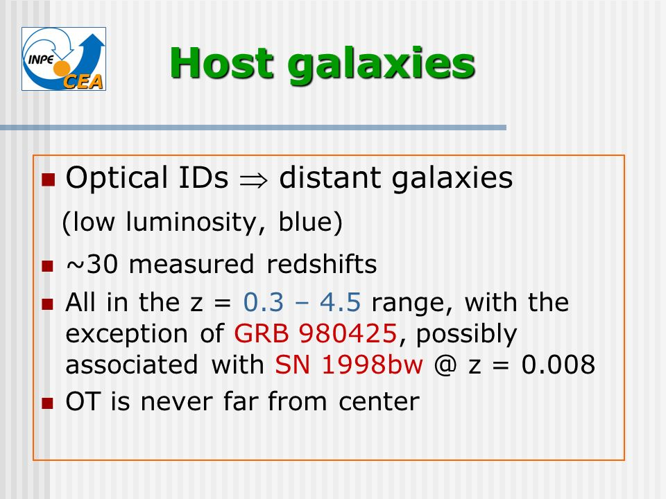 Host galaxies Optical IDs  distant galaxies (low luminosity, blue)