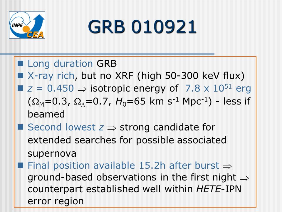 GRB 010921 Long duration GRB. X-ray rich, but no XRF (high 50-300 keV flux)