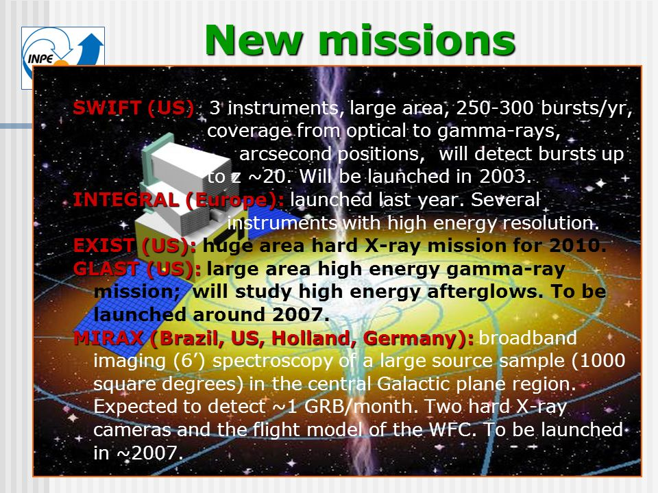 New missions SWIFT (US): 3 instruments, large area, 250-300 bursts/yr,