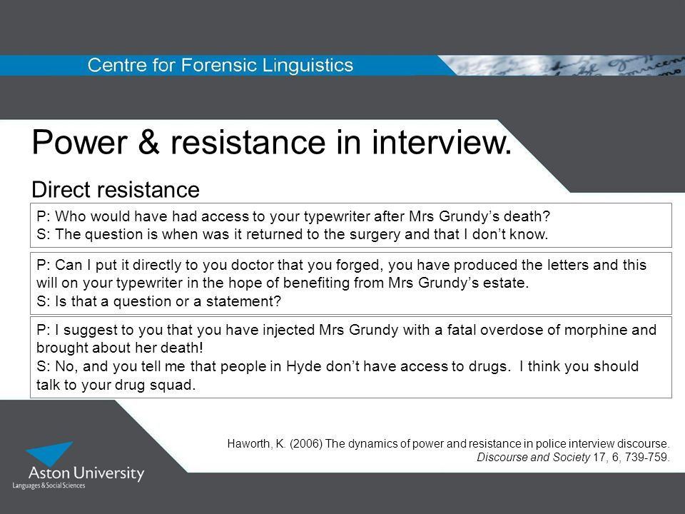 Power & resistance in interview.