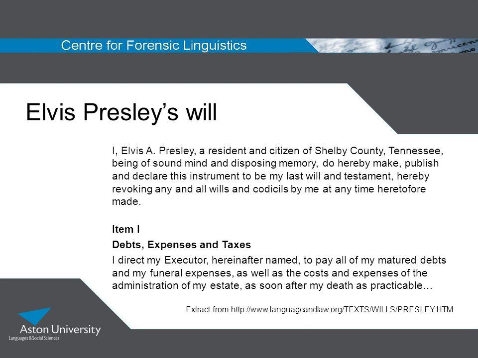 Elvis Presley's will