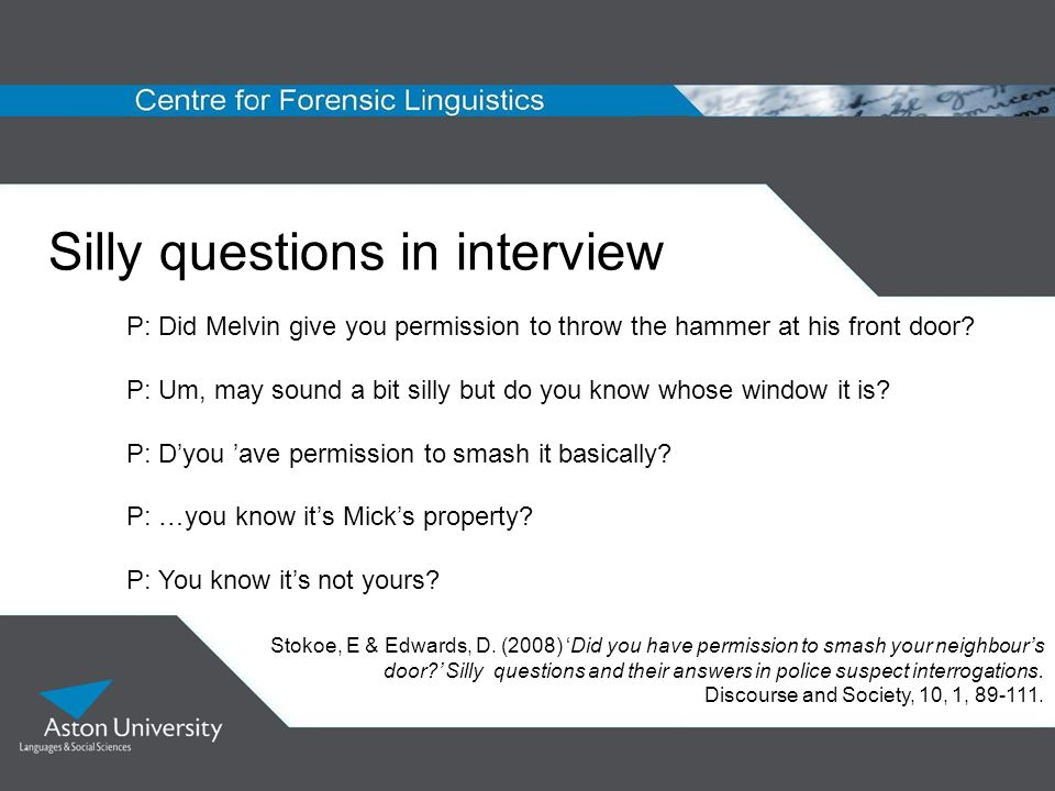 Silly questions in interview
