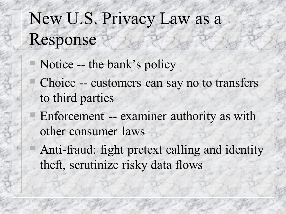 New U.S. Privacy Law as a Response