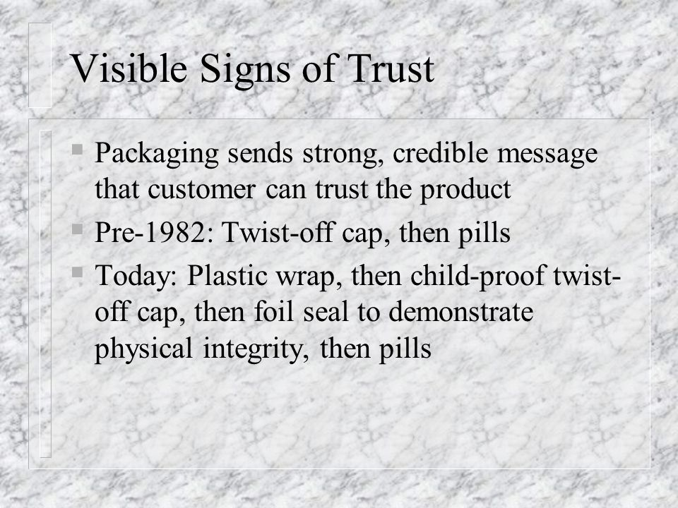 Visible Signs of Trust Packaging sends strong, credible message that customer can trust the product.