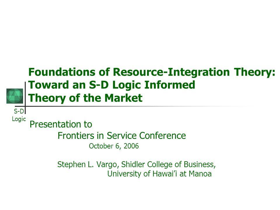 Foundations of Resource-Integration Theory: Toward an S-D Logic Informed Theory of the Market