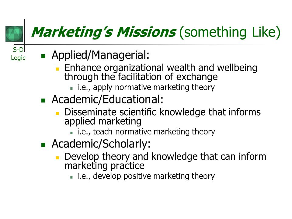 Marketing's Missions (something Like)