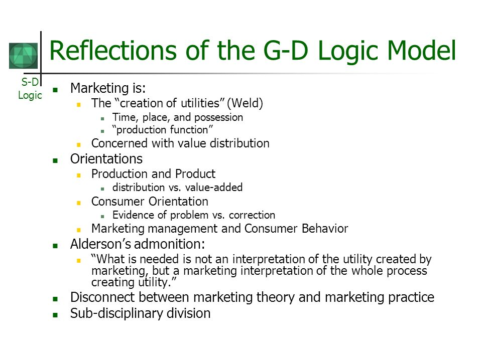Reflections of the G-D Logic Model