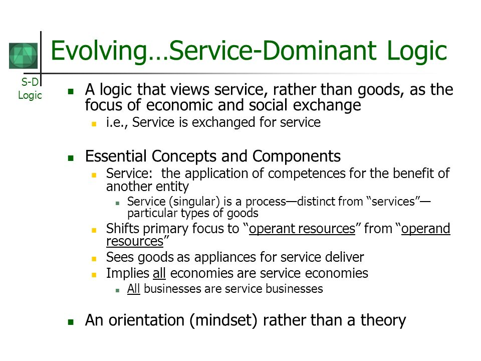 Evolving…Service-Dominant Logic