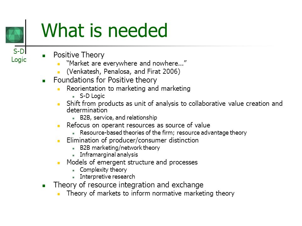 What is needed Positive Theory Foundations for Positive theory