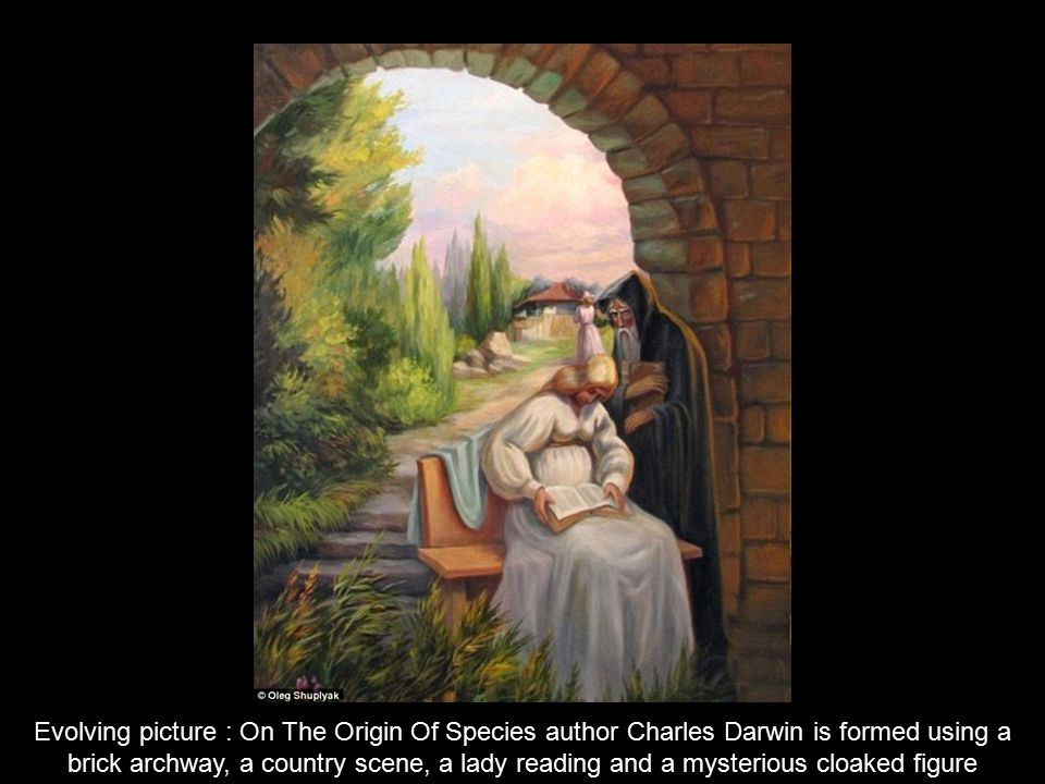 Evolving picture : On The Origin Of Species author Charles Darwin is formed using a brick archway, a country scene, a lady reading and a mysterious cloaked figure