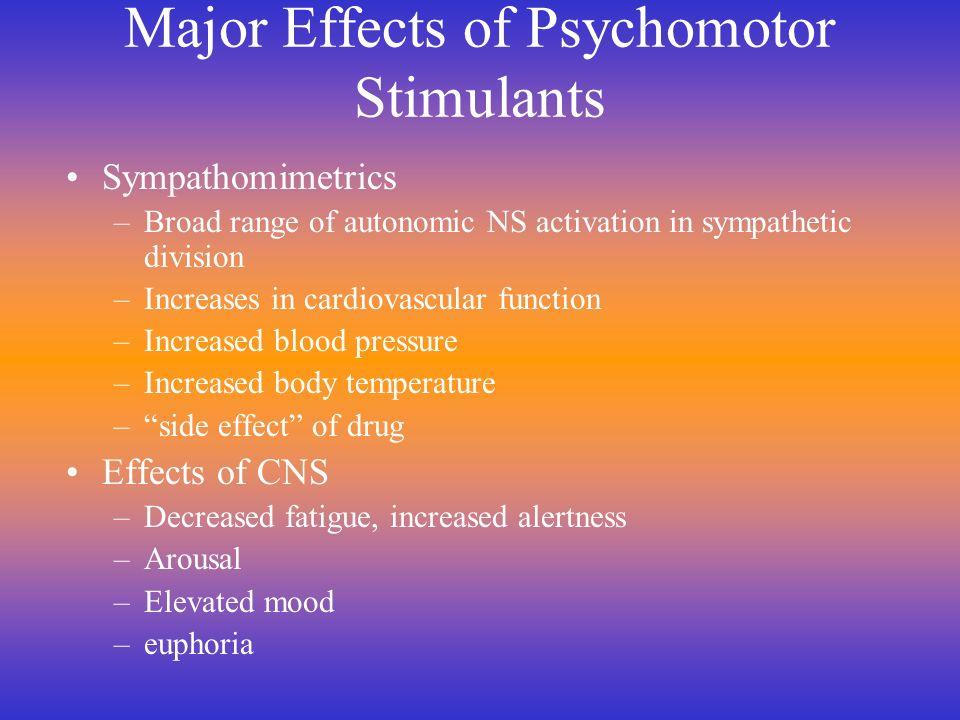 Major Effects of Psychomotor Stimulants