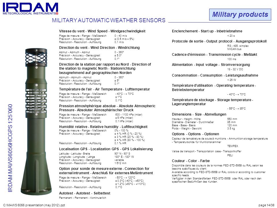 Military products MILITARY AUTOMATIC WEATHER SENSORS