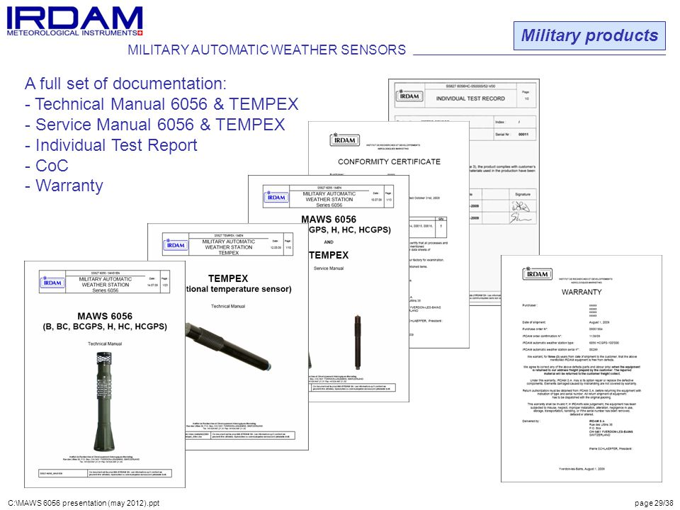 A full set of documentation: Technical Manual 6056 & TEMPEX