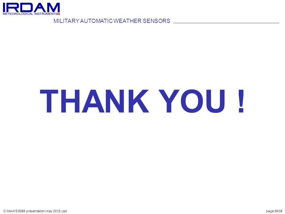 THANK YOU ! MILITARY AUTOMATIC WEATHER SENSORS