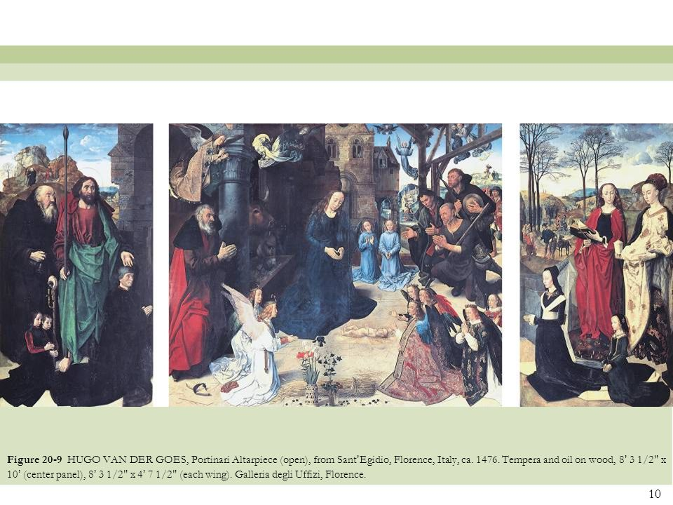 Figure 20-9 HUGO VAN DER GOES, Portinari Altarpiece (open), from Sant'Egidio, Florence, Italy, ca.