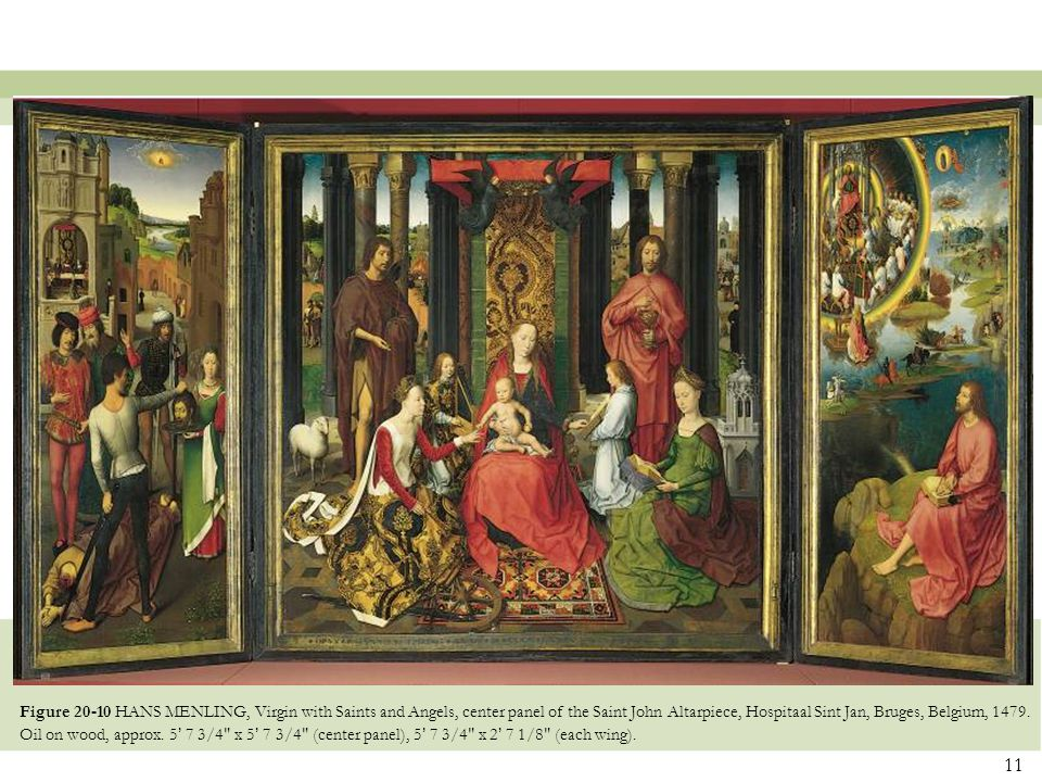 Figure 20-10 HANS MENLING, Virgin with Saints and Angels, center panel of the Saint John Altarpiece, Hospitaal Sint Jan, Bruges, Belgium, 1479.
