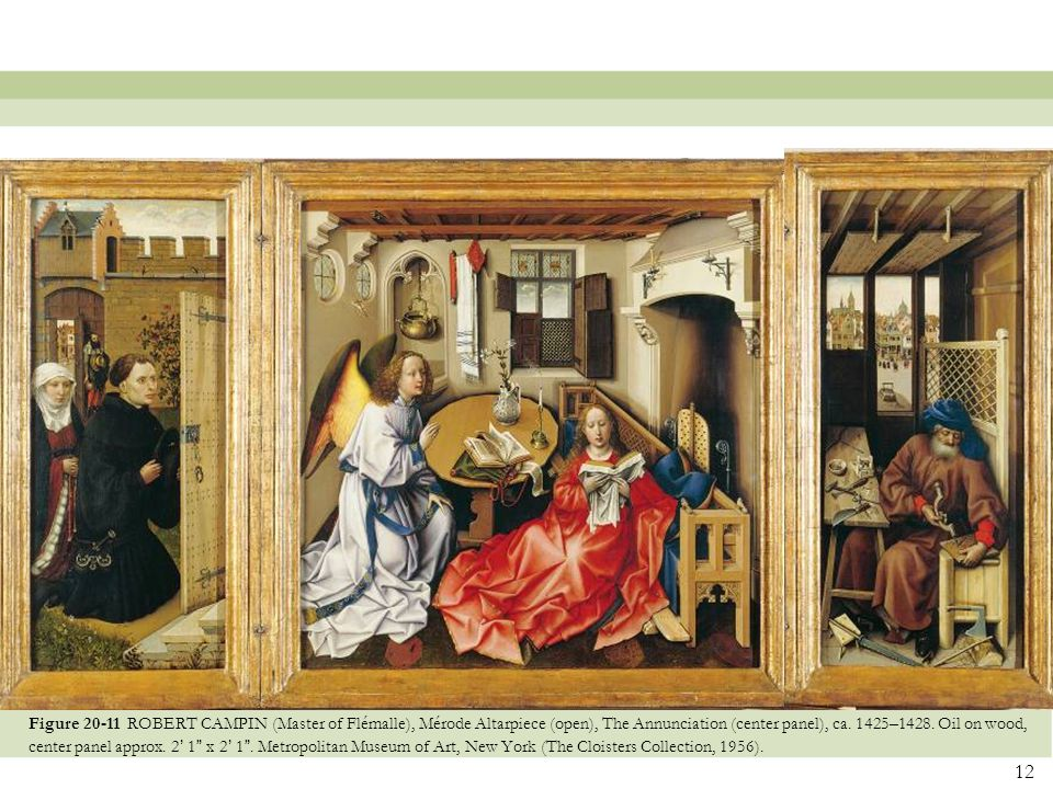 Figure 20-11 ROBERT CAMPIN (Master of Flémalle), Mérode Altarpiece (open), The Annunciation (center panel), ca.