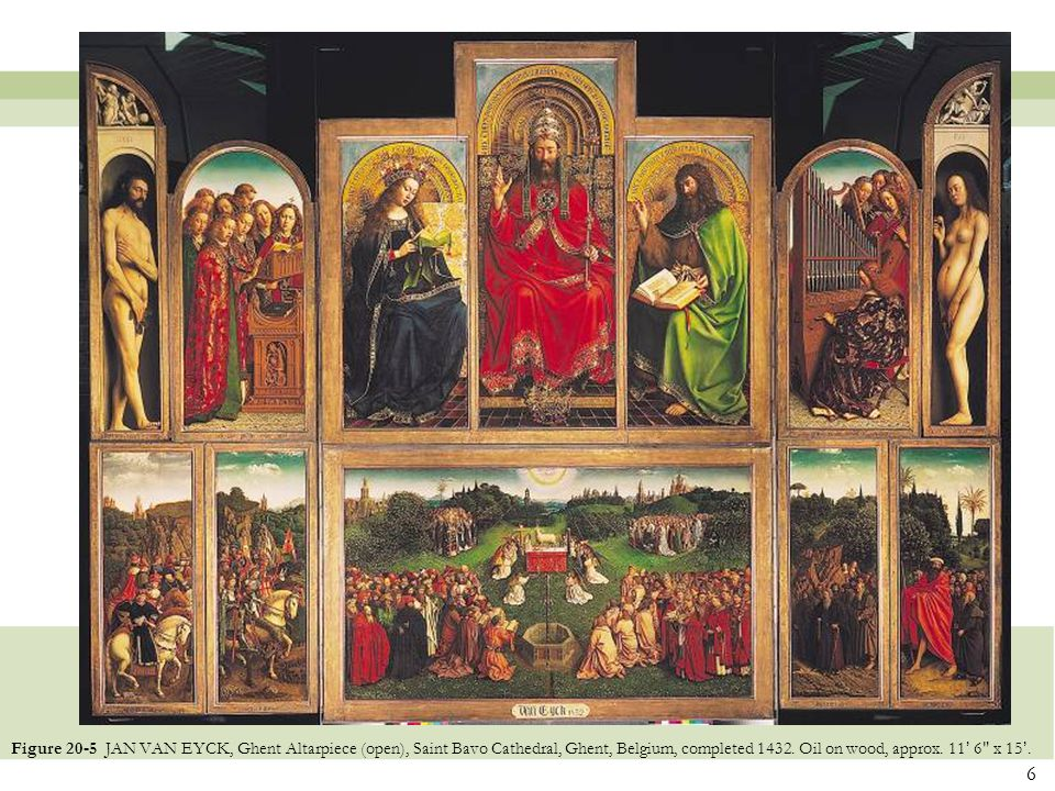 Figure 20-5 JAN VAN EYCK, Ghent Altarpiece (open), Saint Bavo Cathedral, Ghent, Belgium, completed 1432.