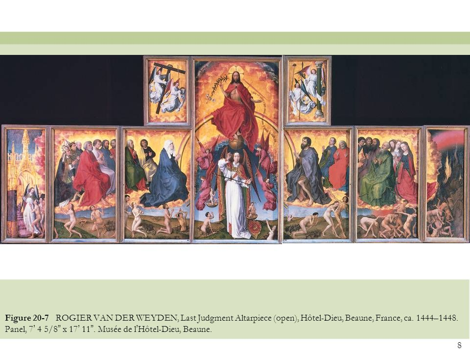 Figure 20-7 ROGIER VAN DER WEYDEN, Last Judgment Altarpiece (open), Hôtel-Dieu, Beaune, France, ca.