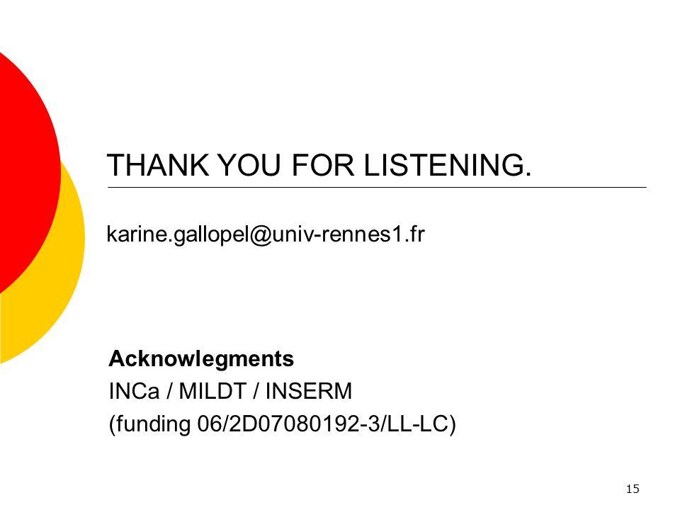 THANK YOU FOR LISTENING. karine.gallopel@univ-rennes1.fr
