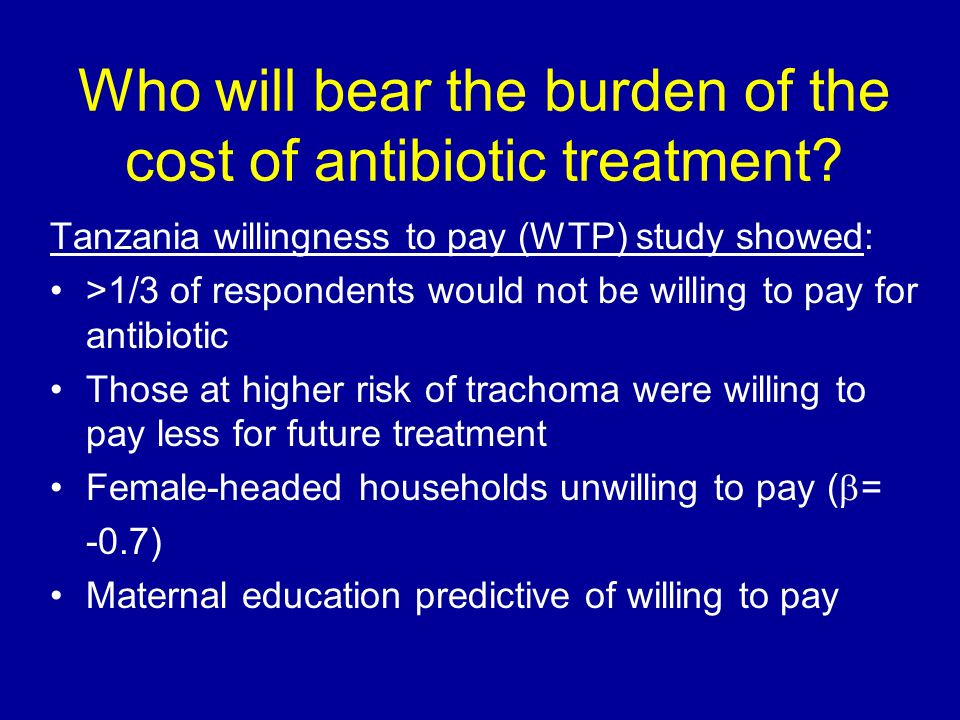 Who will bear the burden of the cost of antibiotic treatment