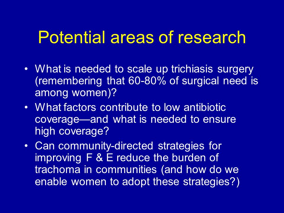 Potential areas of research