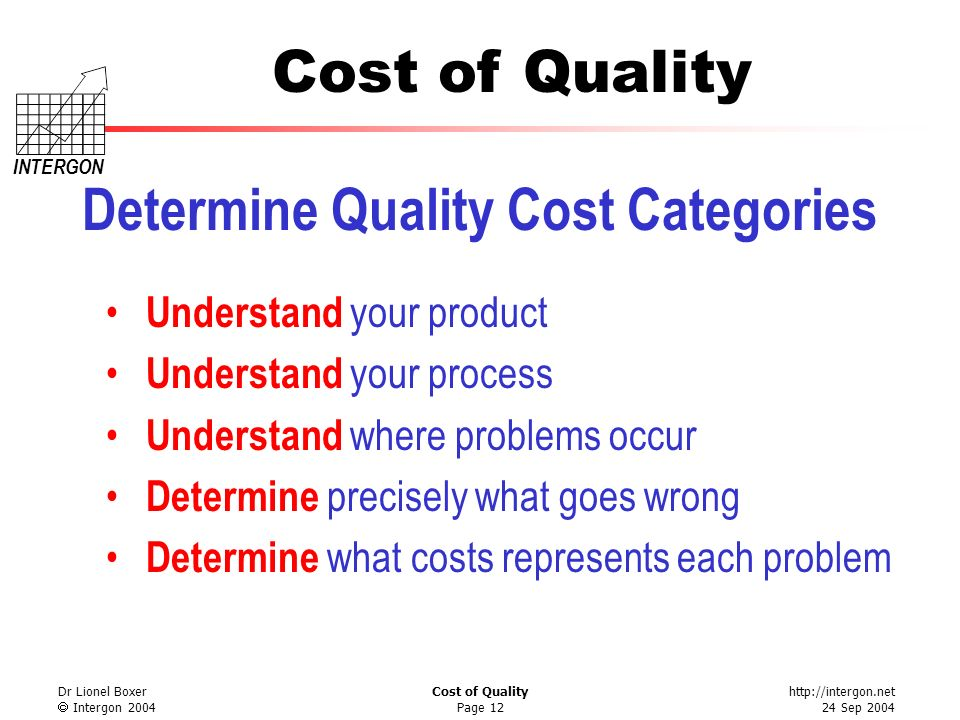 Determine Quality Cost Categories