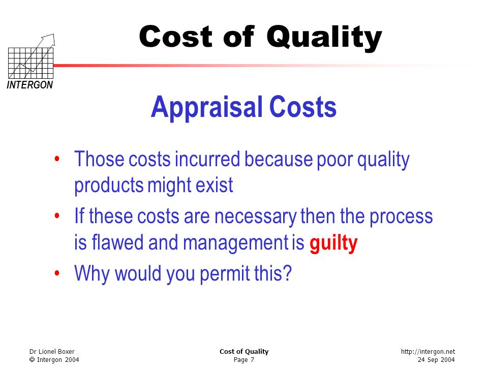 Appraisal Costs Those costs incurred because poor quality products might exist.