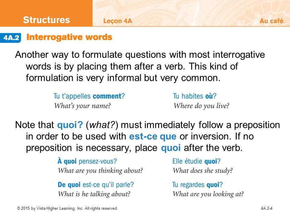 Another way to formulate questions with most interrogative words is by placing them after a verb. This kind of formulation is very informal but very common.