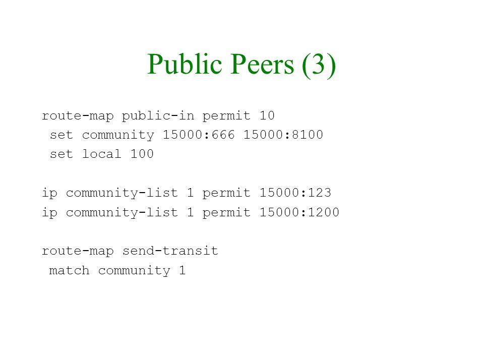 Public Peers (3) route-map public-in permit 10
