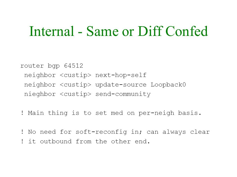 Internal - Same or Diff Confed