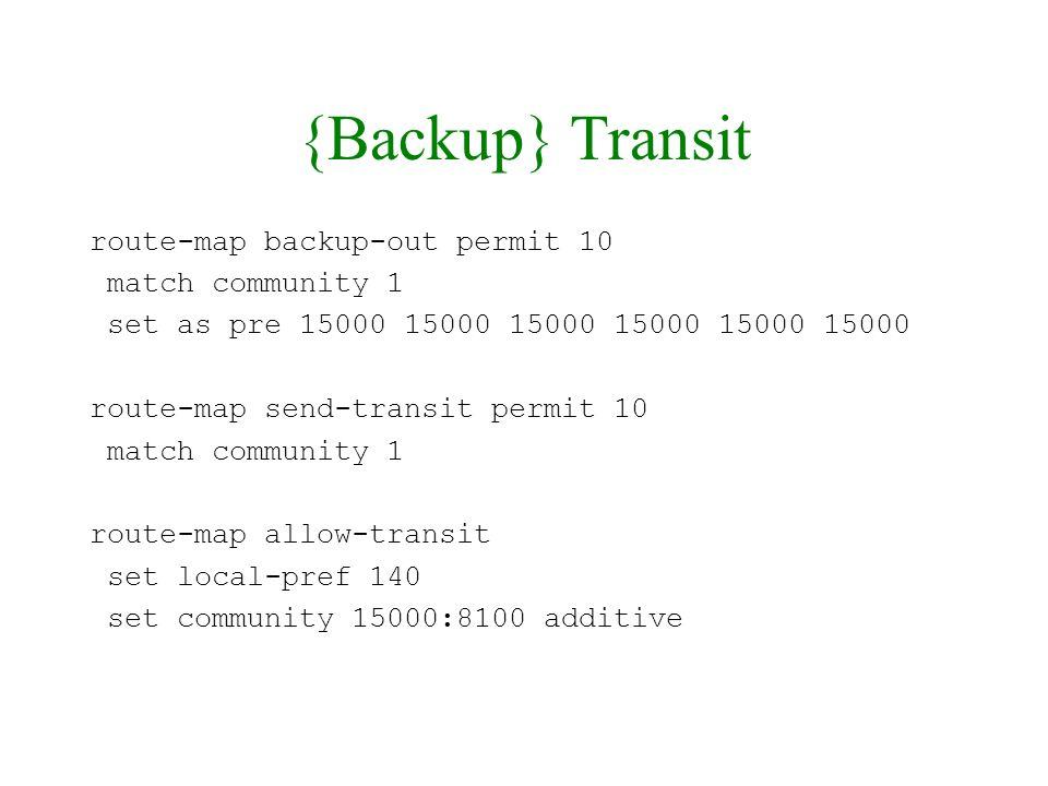 {Backup} Transit route-map backup-out permit 10 match community 1