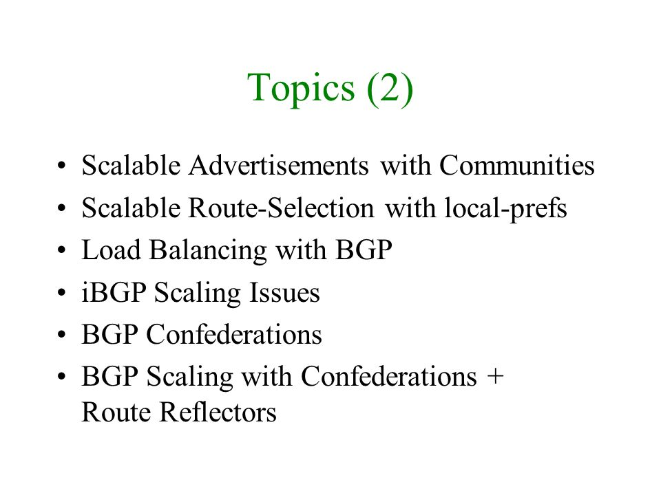 Topics (2) Scalable Advertisements with Communities