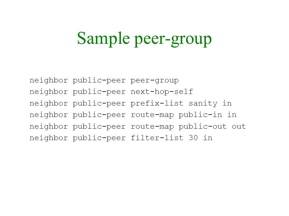 Sample peer-group neighbor public-peer peer-group